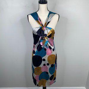 Galliano Multicolor Silk Ittierre Midi Dress Sz 42